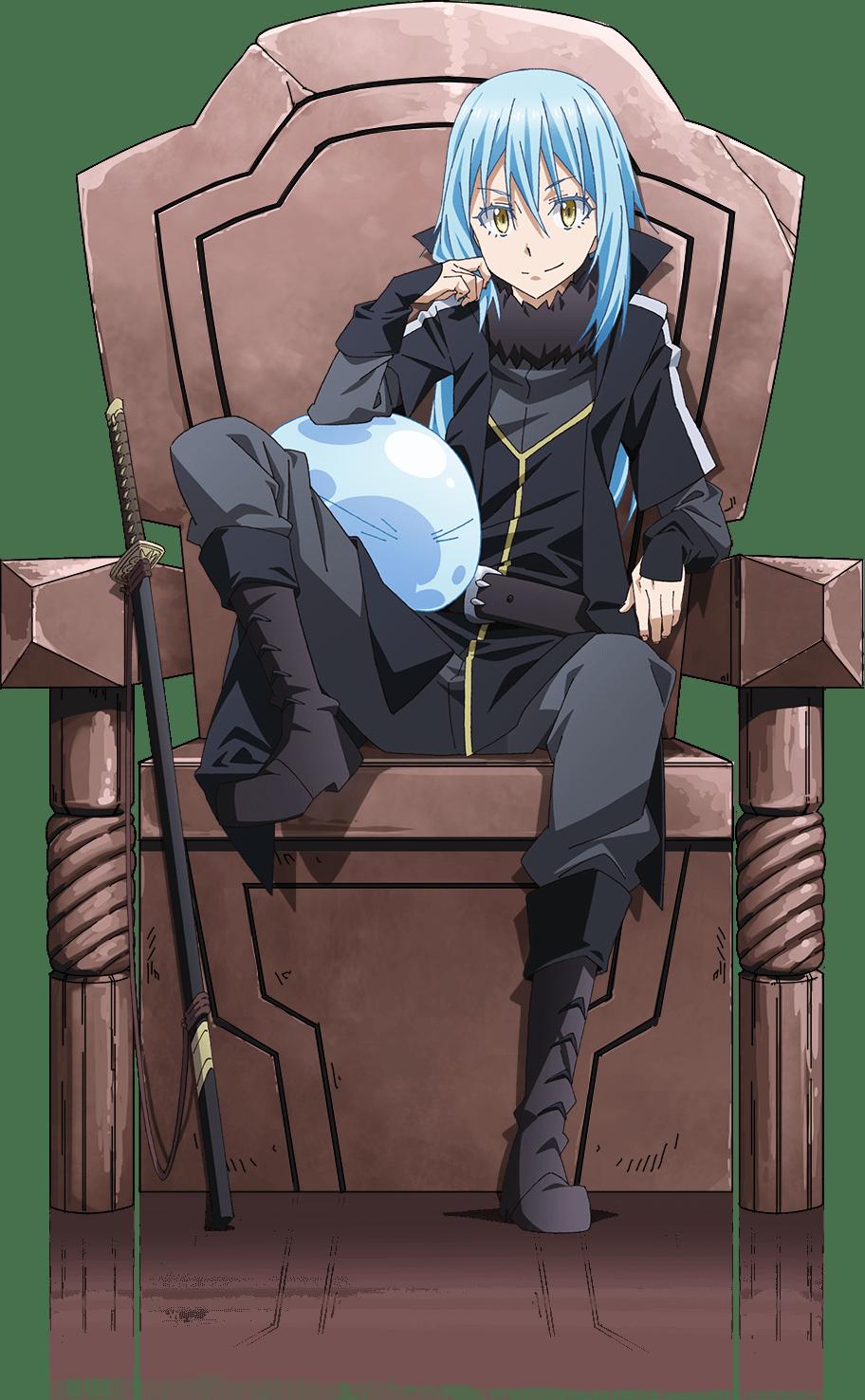 椅子に座るリムルとスライム